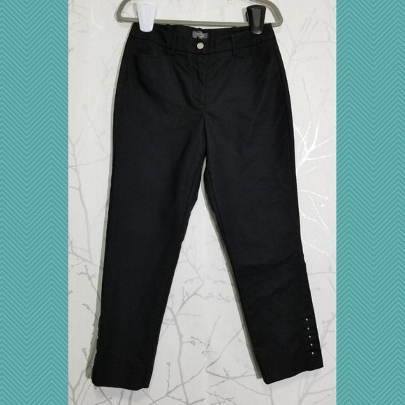 Trisisto High Rise Ankle Pants w/ Studded Detail